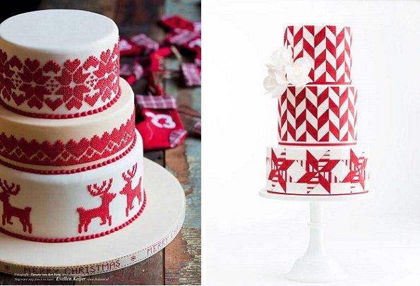 kötött hatású torta téli esküvőre