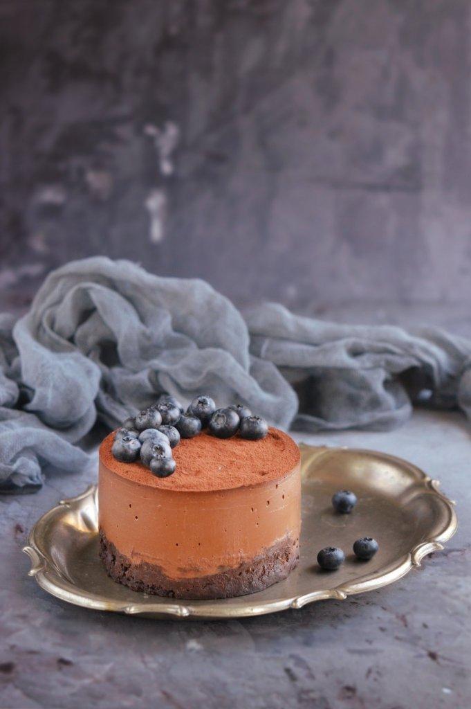 cukormentes vegán csokis namelaka torta recept áfonyával
