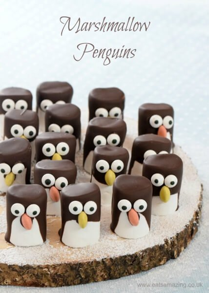 Pingvin pillecukorból - adventi ötlet