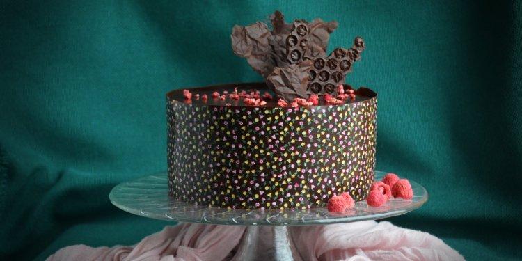 Málna-csoki mousse torta recept mintás csokiköpenyben
