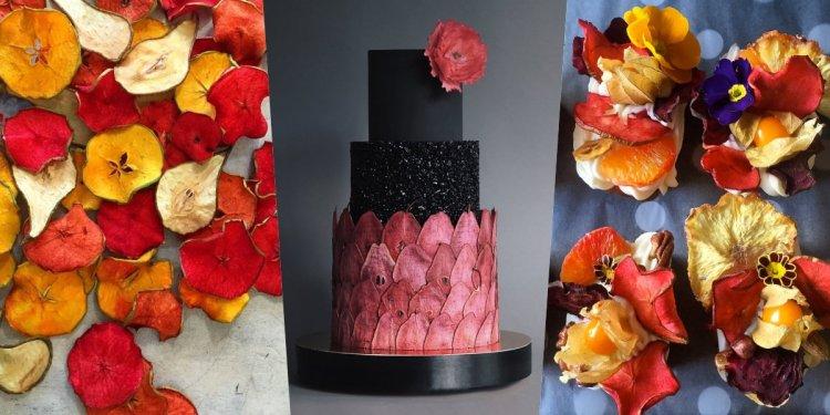 Tortadíszítés festett aszalt gyümölcsökkel - tortatrend