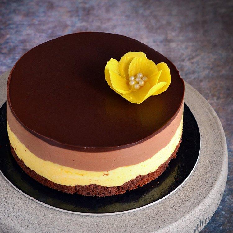 Csokis mangó mousse torta csoki virággal