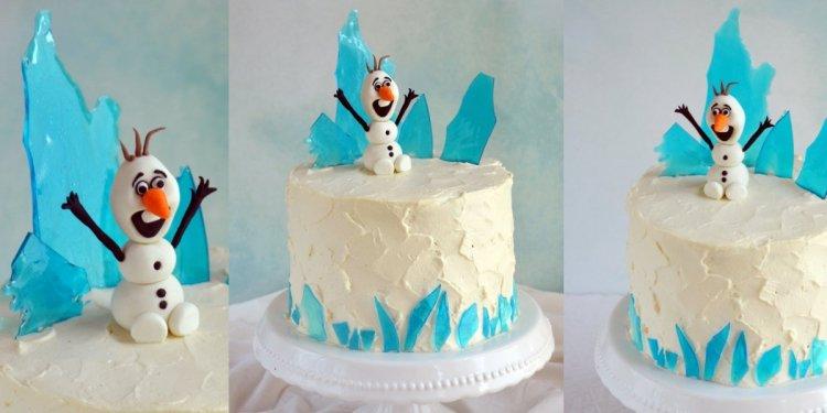 Jéghegy készítése cukorüvegből Jégvarázs tortára