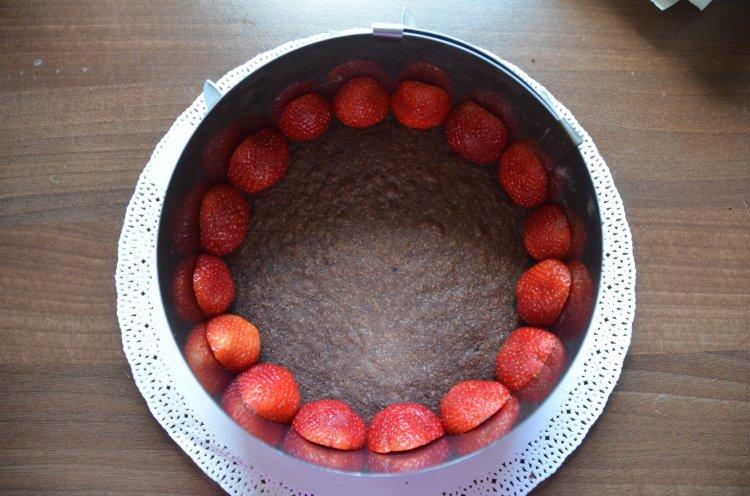 Fehércsoki torta eperrel - namelaka technikával