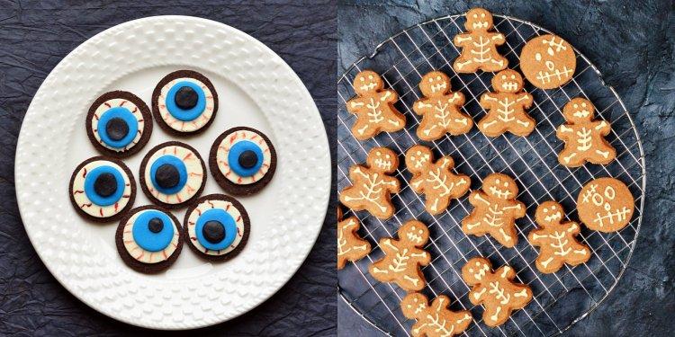 Halloween csontváz keksz és véres oreo szem - halloween-i rémisztő édességek