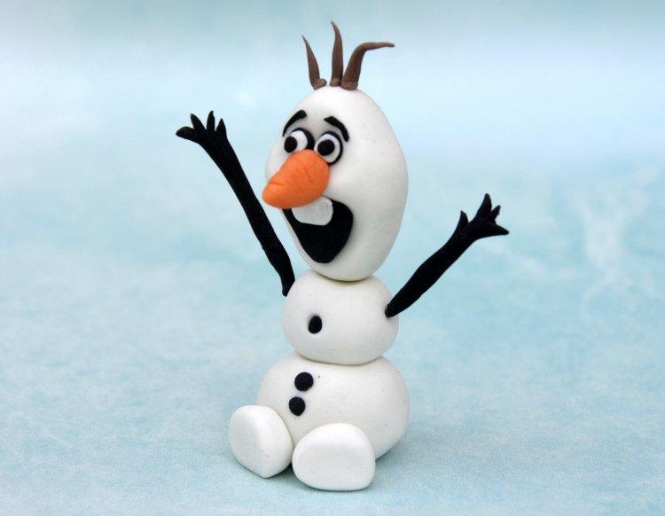Olaf, a hóember figura készítése fondantból - lépésről lépésre fázisfotókkal