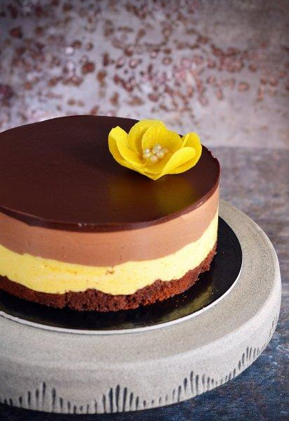 Csokis mangó mousse torta recept csoki virággal