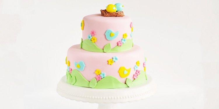 Madaras torta készítése fondanttal - emeletes madár torta
