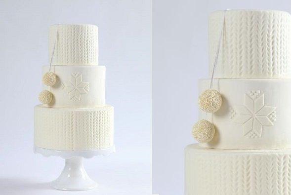 Kötött hatású torta fehérben, skandináv torta trend