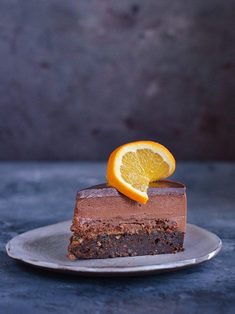 oléna szelet recept - mogyorókrémes narancsos csokis namelaka torta