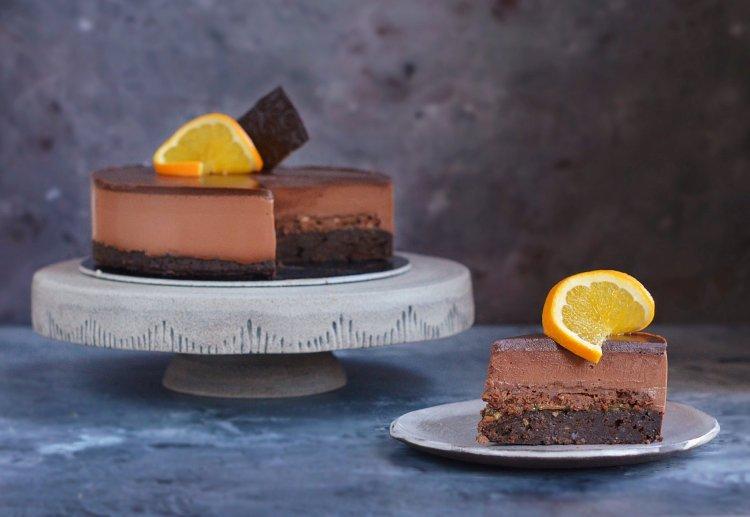 oléna szelet recept - narancsos csokis mogyorókrémes torta